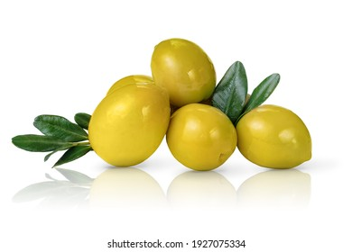 Heap of green olives isolated on white background.