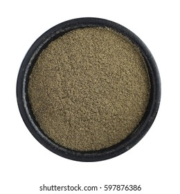 Heap of Ground Black Pepper in Iron Bowl Isolated Top View