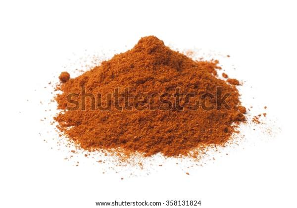 Heap of ground chili powder on white background