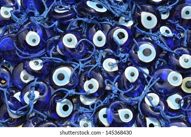Heap Of Handmade Evileye Beads on Turkish Bazaar (Nazar Pendants)