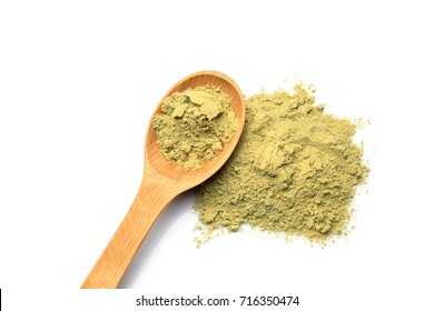 Heap of hemp protein with spoon, isolated on white