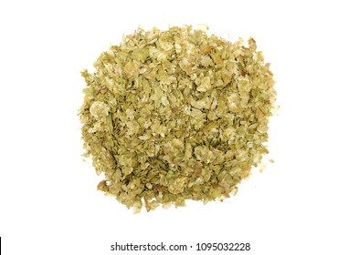 Heap of hop green leaves isolated on white background. Top view.