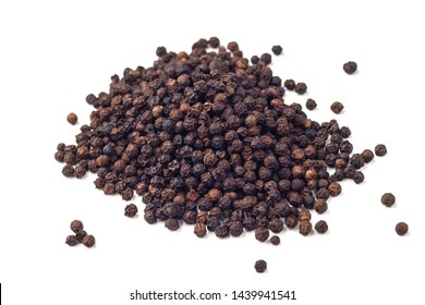 Heap of hot black pepper isolated on white background