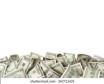 Heap of hundred Dollar Bills isolated on white background with place for your text