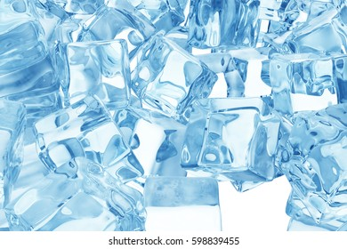 Heap of ice cubes. background of blue ice cubes 3d rendering