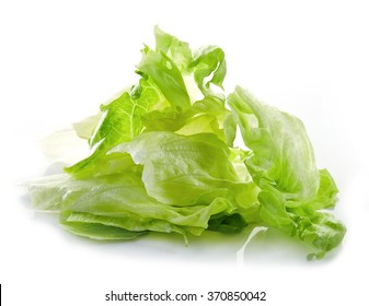 heap of iceberg lettuce leaves isolated on white background