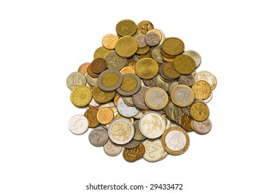 Heap of international coins isolated