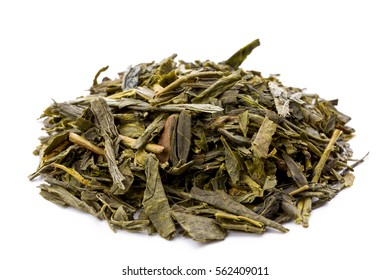 Heap of leaves of green japanese bancha tea, closeup, frontview,  isolated on white background.