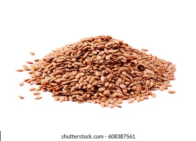 Heap of linseeds on white