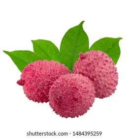 heap of lychees with green leaves isolated on white background