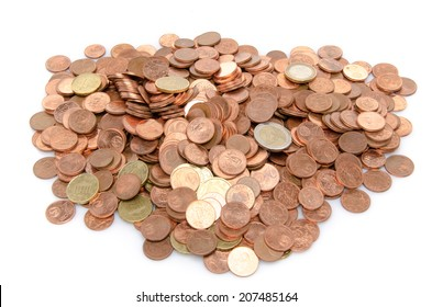 Heap of many coins, isolated on white