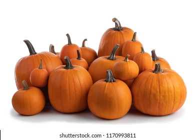 Heap of many orange pumpkins isolated on white background, Halloween concept