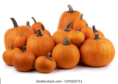 Heap of many orange pumpkins isolated on white background , Halloween concept