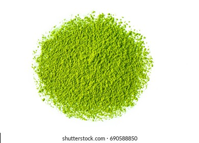 Heap of matcha green tea powder on white background, view from above.