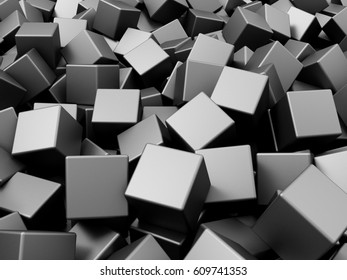 Heap of Metal Cubes Abstract Background. 3D Rendering