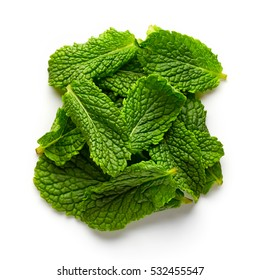 Heap of mint leaves isolated on white background, top view