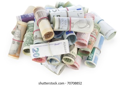 Heap of money currency isolated on white with patch