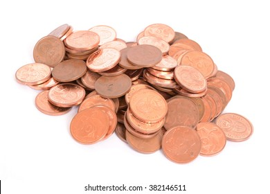 Heap of money with five cents copper coins of the South African currency Rand. Image isolated on white studio background.