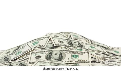 Heap of money isolated on white background