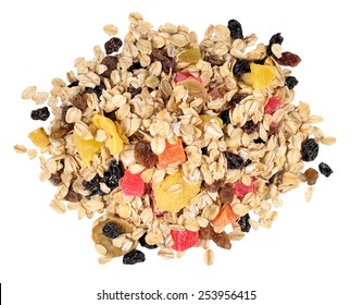 Heap of musli on a white background