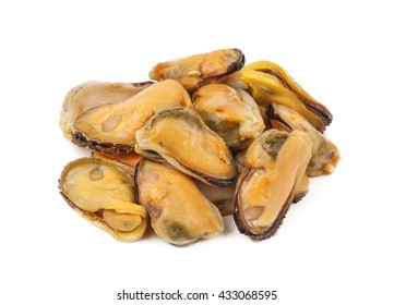 heap of mussels on white background