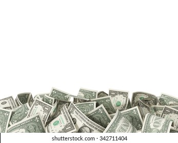 Heap of one Dollar Bills money isolated on white background with place for your text 3d render