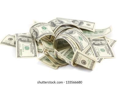 Heap of one hundred dollar bills U.S. on white background