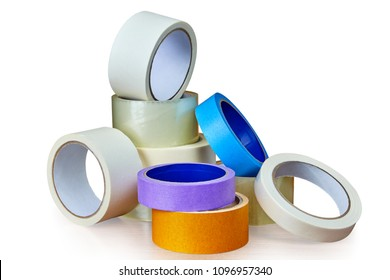 A heap of packing tape and a masking tape isolated on white background, with clipping path.