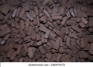 Heap of peat briquettes, alternative fuels, raw material