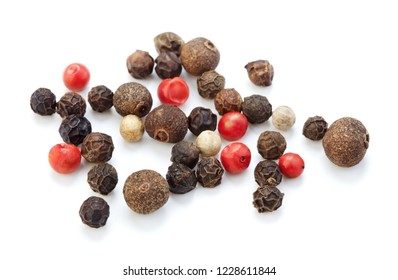 heap of peppercorns isolated on white background