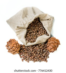 heap of pine nut on white background