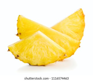 heap of pineapple slices isolated on white background