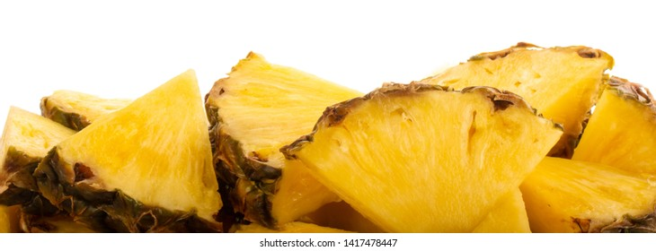 heap of pineapples isolated on white background