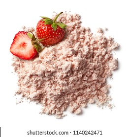 Heap of pink strawberry protein powder isolated on white background. Top view