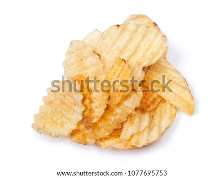 Heap of potatoes chips isolated on white background