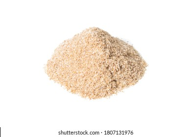Heap of psyllium husk isolated on white background. Psyllium husk also called isabgol is fiber derived from the seeds of Plantago ovata plant found in India.