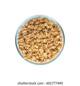 Heap of Puffed Wheat Snack in Glass Round Bowl Isolated. Healthy Cereal Vegetarian or Vegan Food