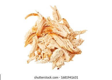 Heap of pulled chicken meat on white