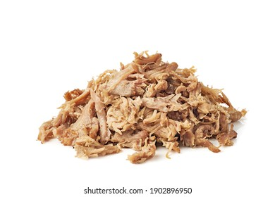 Heap of pulled pork on white background - Shutterstock ID 1902896950