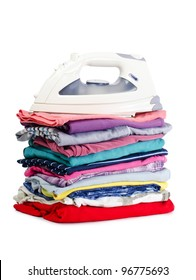 Heap of pure clothes with an iron