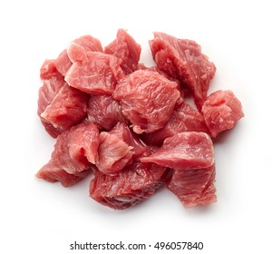 Heap of raw diced beef meat isolated on white background, top view