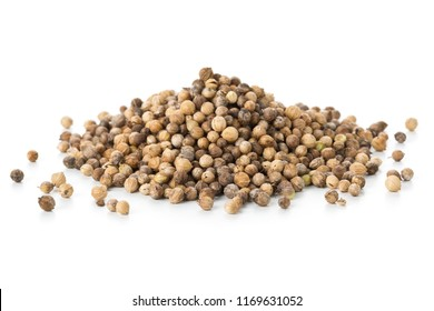 Heap of raw, unprocessed organic coriander or cilantro seeds on white background