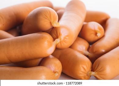 A heap of raw Vienna sausages close up