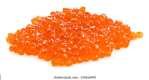 heap of red caviar on white