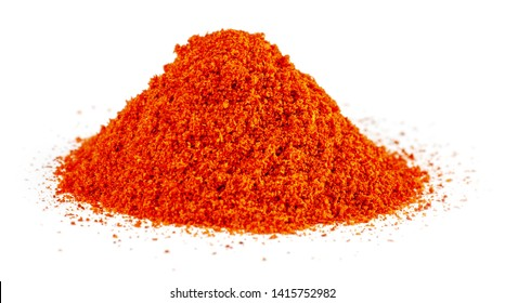 Heap of Red Chilli Pepper Powder isolated on White Background
