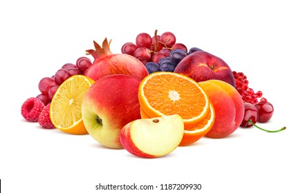 Heap of red fruits and berries isolated on white background with clipping path