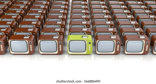 Heap of retro TV with one different. 3d illustration