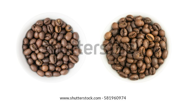 Heap of Roasted Coffee Beans in Round Bowls Isolated on White Background