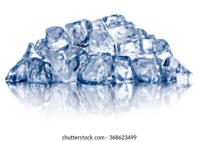 Heap of rough crushed ice, irregular shaped, dry, with fake reflection. Clipping paths for both ice and reflection