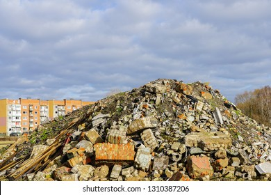 Heap of rubble after demolition of an old house